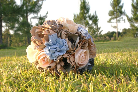 Bouquets, 3 Piece Bouquet and Boutonniere Burlap, Leather, and Lace Package