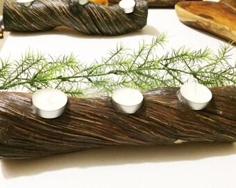 Rustic Wood Log Candle Tealight Holder Winter Decor