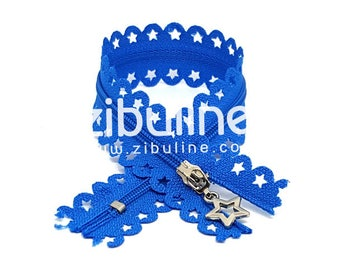 Zipper - inseparable nylon - cyan blue stars - 25 cm