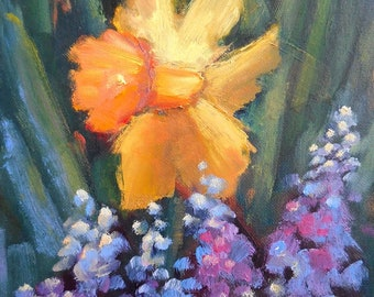 "Daffodil painting, Spring Flowers, Original Oil Painting, 6x8"" Oil on Panel, Free Shipping, Reserved for Kristen"