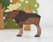 Wooden moose toy Forest Animal toy Elk Waldorf nature table Woodland Animal figurine