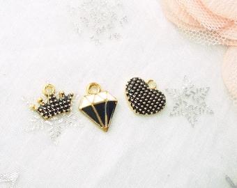 enameled charms, 3 x black Golden glazed pendant
