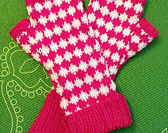 Diamonds are Forever in Hot Pink & White -  Fingerless Knit Gloves in a Diamond Pattern