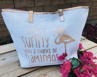 Flamingo Bag,Flamingo Beach bag, Flamingo Beach tote, Beach Tote