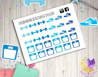 Blue Teal Navy Fitness Exercise Weight Loss Running Tracker Planner Stickers