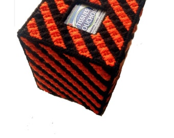 Sports Team Colors Orange and Black Sports Teams Tissue Box Cover, team spirit, high school colors tissue cozy, college school colors