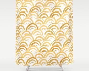 Art Deco Shower Curtain Gold Bathroom Decor Gold Fabric Shower Curtain Art Modern Geometric Shower Curtain Girls Bathroom art deco print