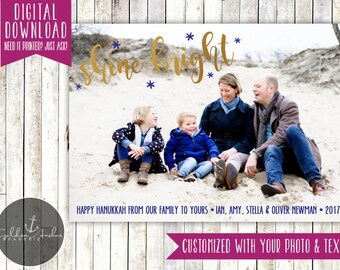 Shine Bright - Hanukkah Photo Card - Rustic - Happy Hanukkah - Gold - Picture - Printable DIY