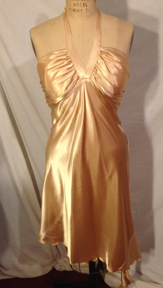 Vintage Elegant Gold Evening Dress By Breakin Loose Size 13/14