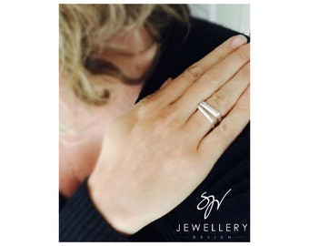 Sterling Silver Handmade Square Ring (D shape) - The Savannah Collection