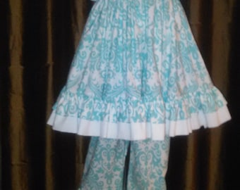 Aqua blue and white 2 piece top and ruffled pants