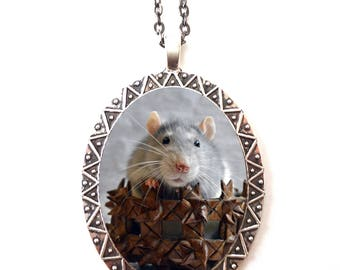 Rat Necklace Pendant Silver Tone - Pet Rats Cute Animal