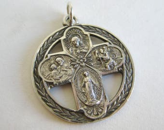 Vintage Sterling Silver Virgin Mary Devotional Catholic Cross Necklace Pendant