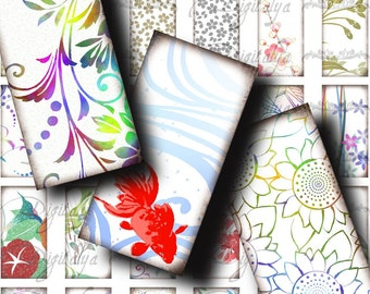 Japanese Design White (1) Dominos 1x2 inch - Fresh & Voguish Asian Motifs - Digital Collage Sheet - Buy 3 Get 1 Extra Free