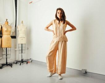 Vintage 20s Silk Peach Pajama Pant Set