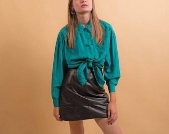 Oversized Silk Blouse / Vintage 90s Shirt / Asian Blouse / Minimalist Silk Blouse Δ size: XS/S/M