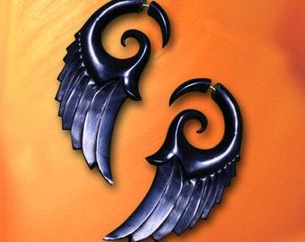 Fake Gauges, Dark Angel Wings, Tribal Earrings, Eco Friendly, Handmade, Horn Earrings, Cheaters, Split, Tribal Jewelry, Expanders - H20