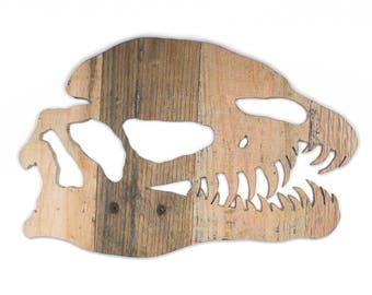 Reclaimed Wood Dinosaur Skull - Dilophosaurus