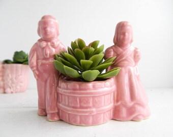 Vintage Pink Ceramic Flower Pot - Boy & Girl at Well Figural Planter