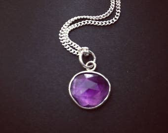 Amethyst Pendant ~ Amethyst Necklace ~ February Birthstone Necklace ~ Rose Cut Amethyst Pendant ~ Purple Gemstone Necklace