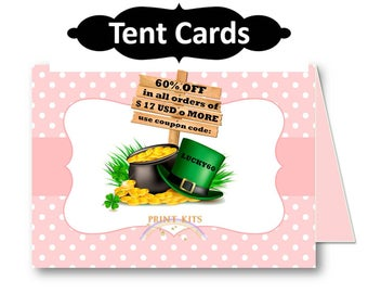 Pink Polka Dots Printable Food Tent Cards. Buffet Cards. Name Tent Cards. Place Cards & Holders. PK_TC107