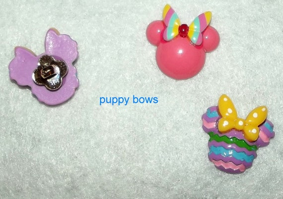 "Puppy Bows ~ Dog bow TINY 1"" MINNIE mouse  Christmas Reindeer, Easter bunny pink butterfly pet hair barrette clip or latex bands ~ (fb75)"