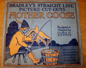 1915 MINT Vintage Antique Bradley's Mother Goose Picture Cut-Outs Paper Dolls 54.95