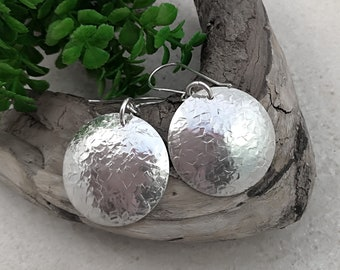 HAMMERED SILVER Disc Earrings, sterling silver spoon earrings, Boho earrings, textured silver. Upcycled from vintage spoons. Large earrings.