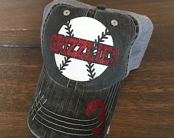 Baseball Mom Trucker Hat, Baseball Mom Hat, Custom Baseball Hat, Distressed Baseball Hat, Distressed Sports Mom Hat, Baseball Mom