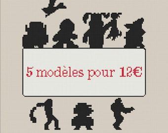 5 models cross-stitch for 12 euros to choose PDF cross stitch pattern chart pattern