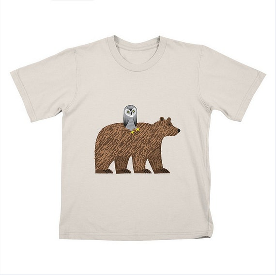 The Owl and The Bear - Children's - T-shirt Tee - Stone - White by Oliver Lake - iOTA iLLUSTRATION