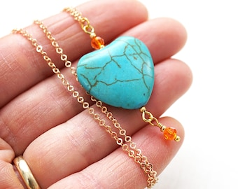 Mothers Day Gift Boho Jewelry Heart Necklace Gold Chain Large Turquoise Heart Orange Crystal Howlite Necklace Bridesmaid Gift Wire Wrapped