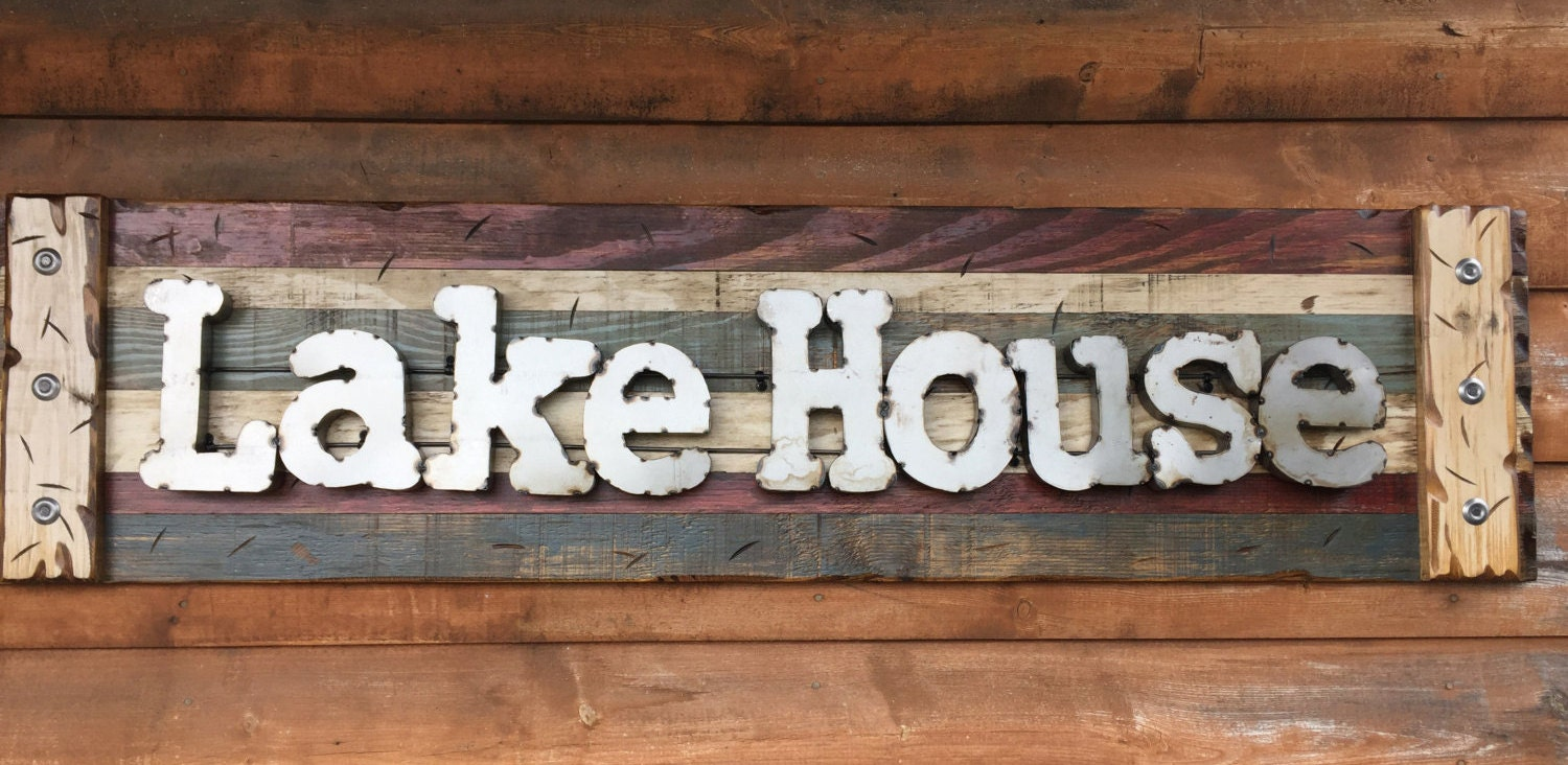Navy Blue Metal Wall Art: LAKE HOUSE Rustic Sign Reclaimed Shutter Distressed