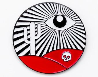 The truth is nowhere enamel pin. All seeing eye paranormal desert skull lapel pin.