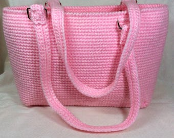 Pink Crocheted Tote Perfect for the Park, Church or Farmer's Market and Makes a Great Gift for any Occasion