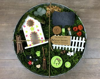 Fairy garden kit with container DIY, Pink & Green Flower, Flower pin fairy house, galvanized outdoor container