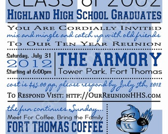 Class reunion invite etsy high school college class reunion blue white any color customizable 525 x stopboris Gallery
