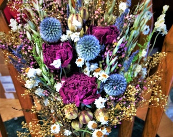 Celtic Meadow/Scottish Highland bouquet. Vintage Victorian Bouquet.  Winter or All Season. Thistle, heather, lavender.  Rose Gold Wedding