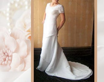 Modest Wedding Dress, Simple Mormon LDS White Size 8 Chiffon over Satin Straight Gown