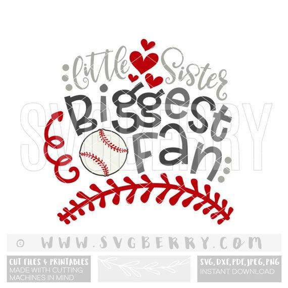 little sister biggest fan svg baseball sister svg sister gift rh etsystudio com Baseball Ball Clip Art Baseball Uniform Clip Art