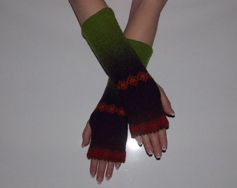 KAUNI Women Knit Arm Warmers  with ornaments, Fingerless Gloves, Knitted FAIRISLE Mittens.