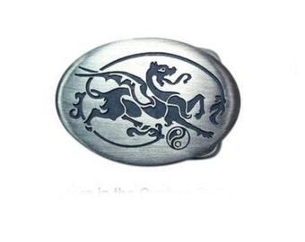 Dragon sterling silver belt buckle