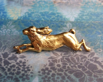 Run Rabbit - Antiqued Gold Plated Running Rabbit or Hare Brooch, Lapel Pin or Tie Pin Tie Tack - Gift Box