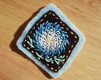 Blue Chrysanthemum (Patch, Pin, Brooch, or Magnet)