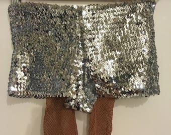 Silver sequin hot pants / shorts