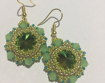 Green Swarovski crystal rivoli earrings