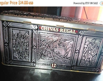 FLASH SALE Chivas Regal Tin, Scotch Whiskey Tin Box Storage Container Hinged Lid