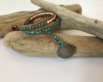 One of a kind double wrap Turquoise and Howlite bracelet with genuine Buffalo Nickel button