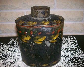 Antique TOLEWARE TEA CADDY Primitive Tole Ware Tin Ware Canister Folk Art Sheet Metal Tin Antique Hand-painted Toleware Victorian Folk Art