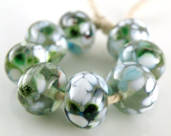 Mint Medley SRA Lampwork Handmade Artisan Glass Donut/Round Beads Made to Order Set of 8 8x12mm